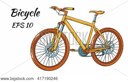 Bicycle. International Bicycle Day. Bicycle Drawn In Cartoon Style. Vector Illustration For Design A