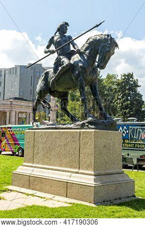 Denver,co - September 11,2019:bronze Sculpture At Civic Center Park  Of Denver- The Broncho Buster.