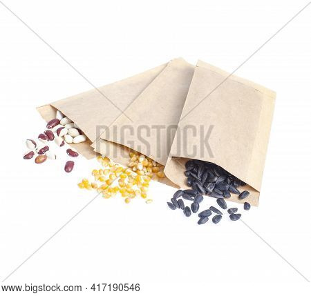 Spring Preparation And Planning For Sowing Vegetable. Veggie Seeds In Craft Paper Envelopes. Seasona