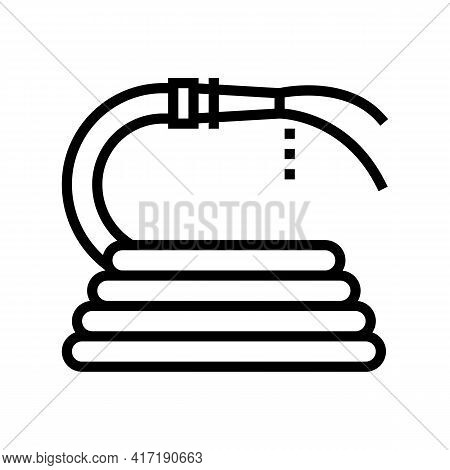 Pouring From Hose Water Line Icon Vector. Pouring From Hose Water Sign. Isolated Contour Symbol Blac