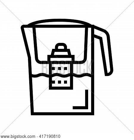 Domestic Filter Water Line Icon Vector. Domestic Filter Water Sign. Isolated Contour Symbol Black Il