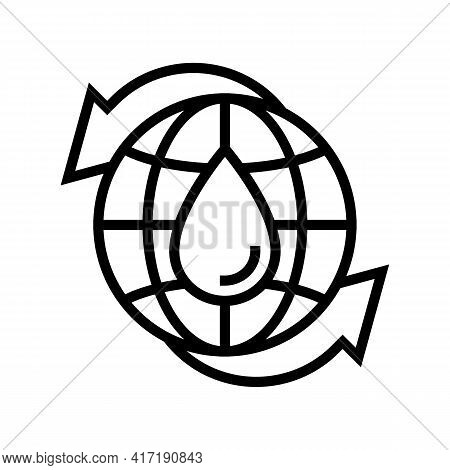 Renewal Of Water Line Icon Vector. Renewal Of Water Sign. Isolated Contour Symbol Black Illustration