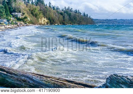 A Landscape Shot Of The Sea And Shoreline At Saltwater State Park In Washington State.