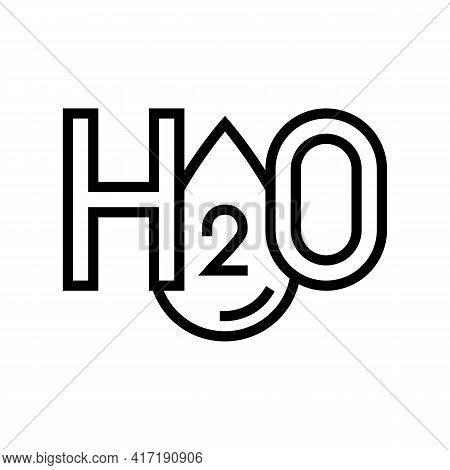 H2o Water Line Icon Vector. H2o Water Sign. Isolated Contour Symbol Black Illustration