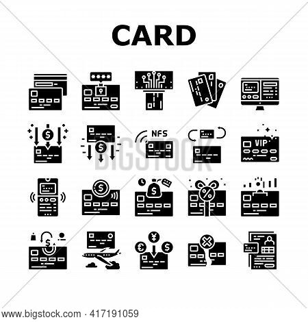 Plastic Card Payment Collection Icons Set Vector. Contactless Nfc System Credit Card And Withdrawal,