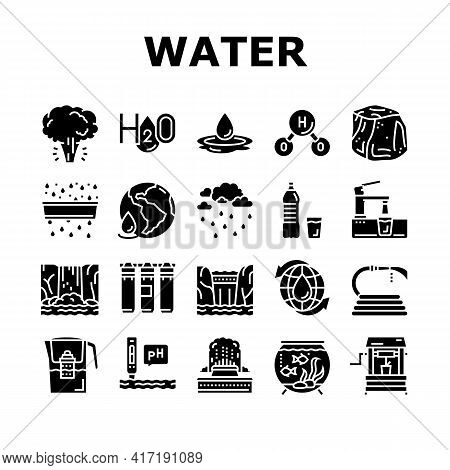 Water Purification Collection Icons Set Vector. Filter And Purifying Equipment, Bottle And Cup, Ocea