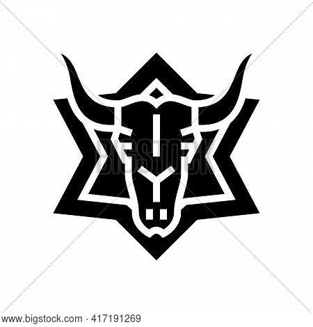 Skull Astrological Glyph Icon Vector. Skull Astrological Sign. Isolated Contour Symbol Black Illustr