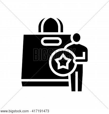 Buyer Getting Bonus Bag Glyph Icon Vector. Buyer Getting Bonus Bag Sign. Isolated Contour Symbol Bla