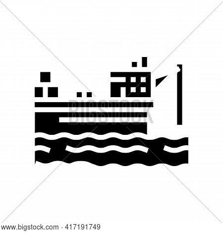 Ship Crane Equipment Glyph Icon Vector. Ship Crane Equipment Sign. Isolated Contour Symbol Black Ill