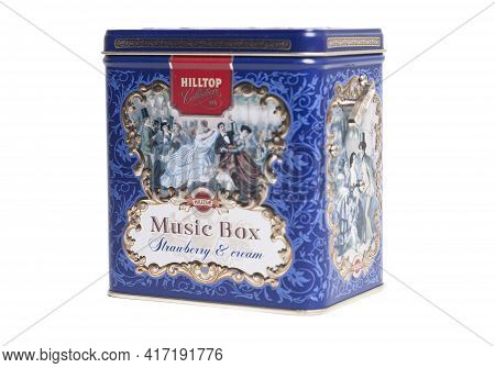 Moscow, Russia April 13, 2021 Hilltop Collection Tea Music Box Strawberry And Cream