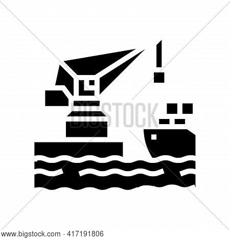 Crane Loading Container On Truck In Port Glyph Icon Vector. Crane Loading Container On Truck In Port