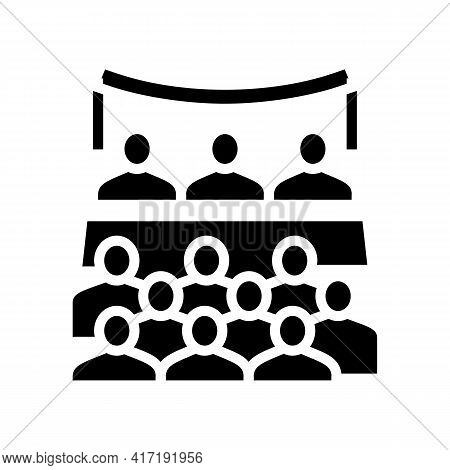 Conference Forum Glyph Icon Vector. Conference Forum Sign. Isolated Contour Symbol Black Illustratio