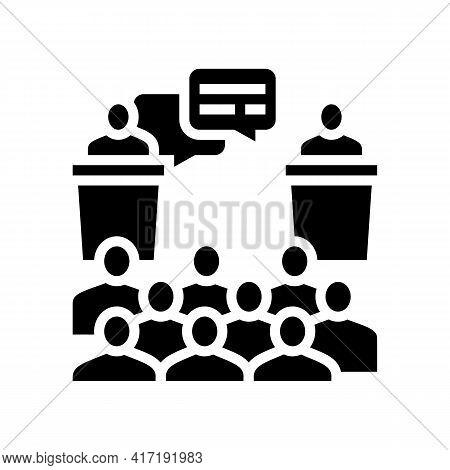 Debate On Forum Glyph Icon Vector. Debate On Forum Sign. Isolated Contour Symbol Black Illustration