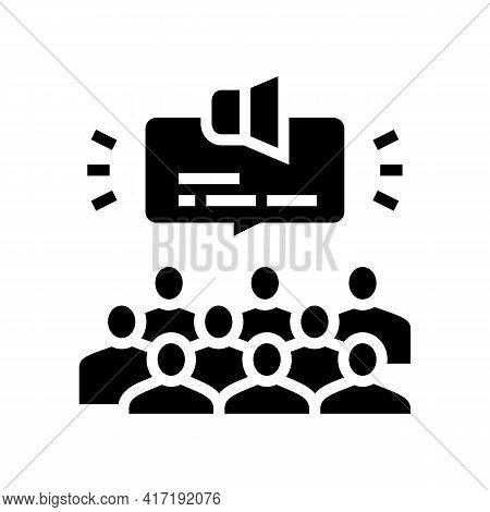 Public Hearing On Forum Glyph Icon Vector. Public Hearing On Forum Sign. Isolated Contour Symbol Bla
