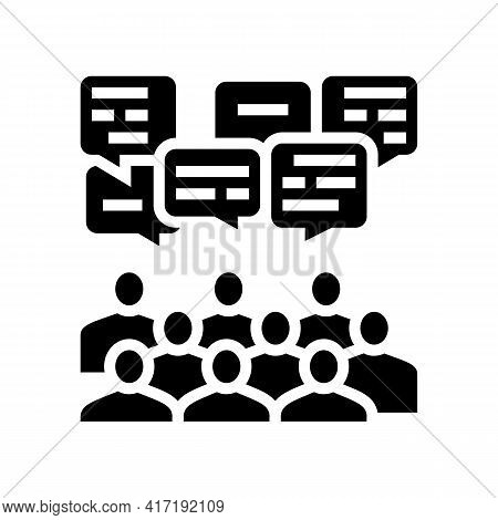 Public Discussion On Forum Glyph Icon Vector. Public Discussion On Forum Sign. Isolated Contour Symb