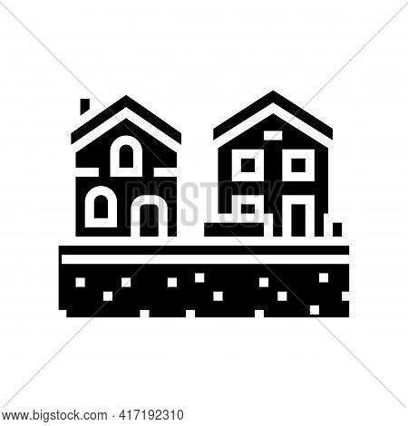 Residential Estate Zone Land Glyph Icon Vector. Residential Estate Zone Land Sign. Isolated Contour