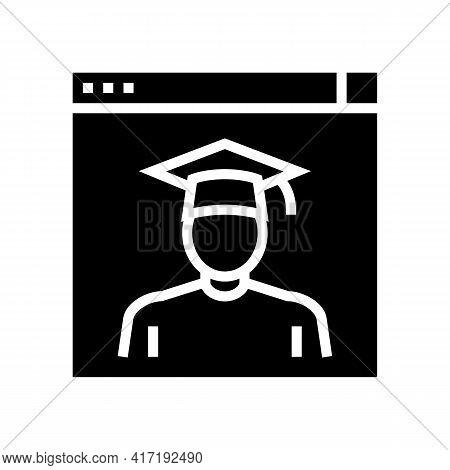 Graduate Online Courses Glyph Icon Vector. Graduate Online Courses Sign. Isolated Contour Symbol Bla