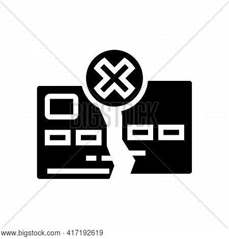 Damaged Card Glyph Icon Vector. Damaged Card Sign. Isolated Contour Symbol Black Illustration
