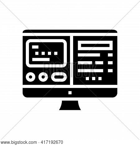 Electronic Online Card Glyph Icon Vector. Electronic Online Card Sign. Isolated Contour Symbol Black