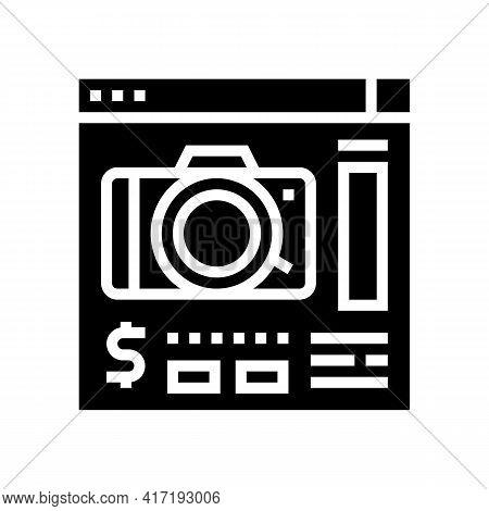 Photo Camera Shop Department Glyph Icon Vector. Photo Camera Shop Department Sign. Isolated Contour