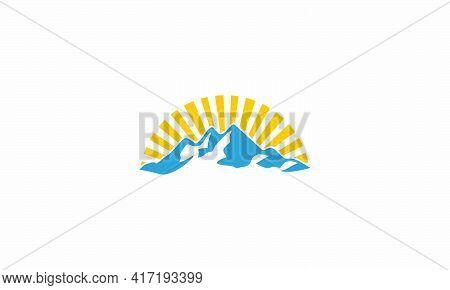 Sunrays View Mountain Logo. Creative Icon. Vector Illustration.