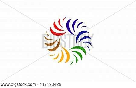 Curved Twisted Logo. Creative Icon. Vector Illustration. On White Background.