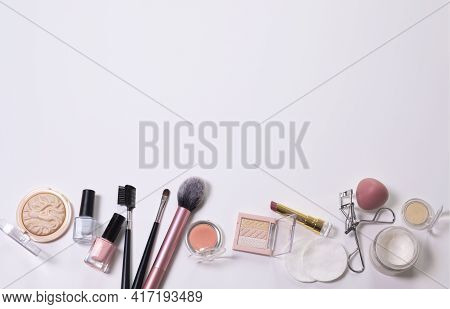 Beauty Background With Facial Cosmetic, Make-up Products. Free Space For Text, Copy Space. Modern La