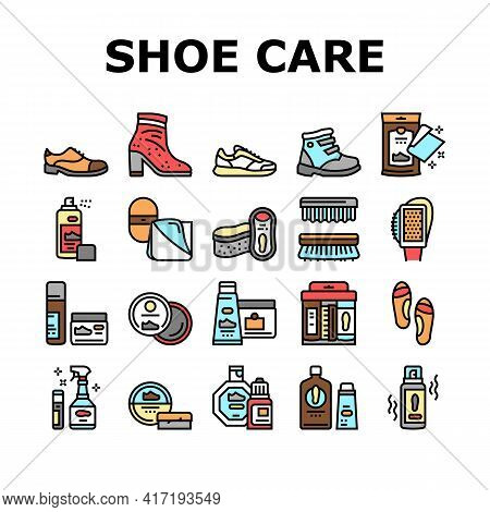 Shoe Care Accessories Collection Icons Set Vector. Leather And Velvet, Children And Everyday Shoe Ca