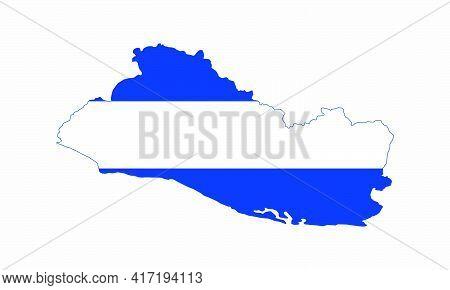 El Salvador Map Flag Vector Design On White Background