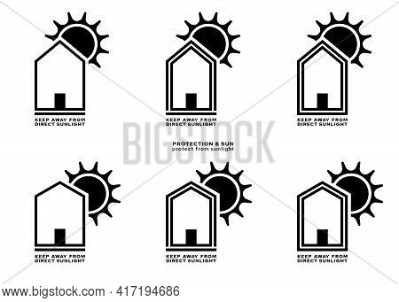 Product Packaging Labeling - Keep Away From Direct Sunlight. The Sign Of A House With A Roof And The