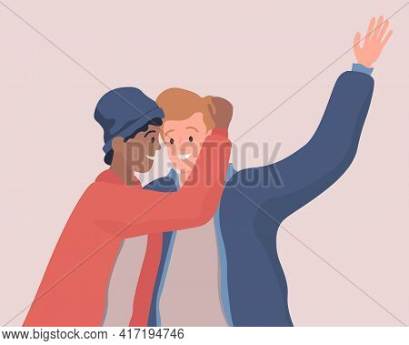 Two Hugging Men Vector Flat Illustration. Happy Young Male Characters Looking At Each Other. Gay Cou