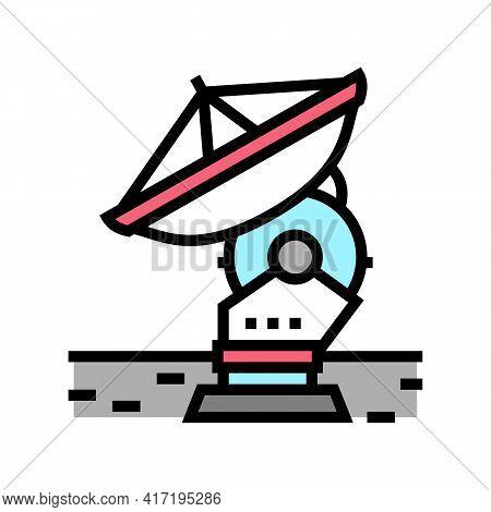 Antenna Radar Planetarium Color Icon Vector. Antenna Radar Planetarium Sign. Isolated Symbol Illustr