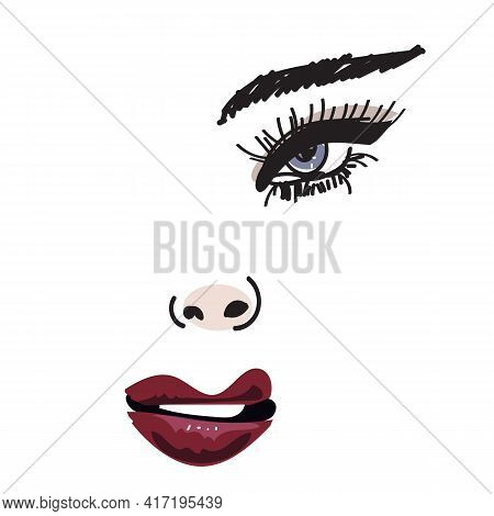 Sexy Female Face With Vivid Make Up, Fashiongirl