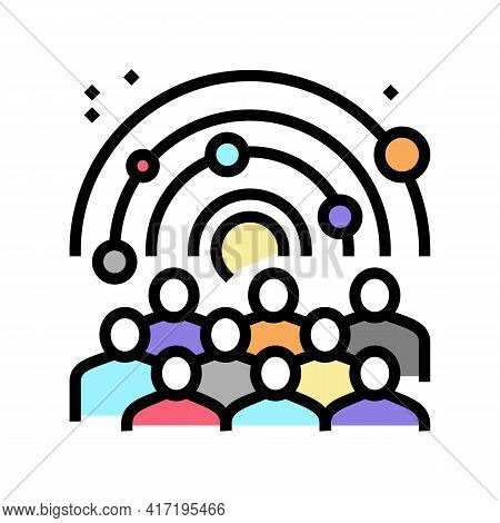 Visiters Watching On Galaxy Planets In Planetarium Color Icon Vector. Visiters Watching On Galaxy Pl