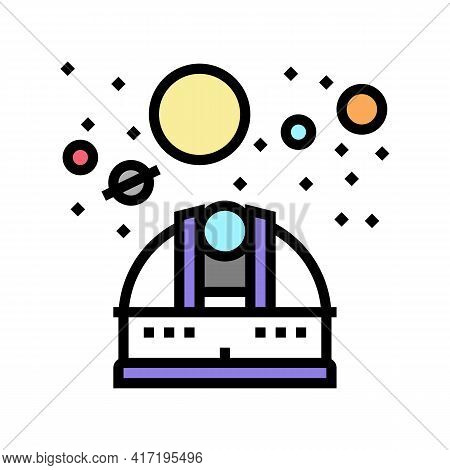 Observatory Telescope Watching On Planets Color Icon Vector. Observatory Telescope Watching On Plane