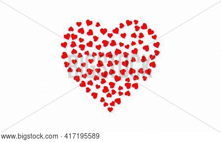 Romance Hearts On White Background. Vector Illustration.