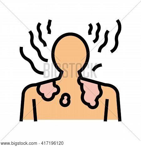 Sunburn Skin Disease Color Icon Vector. Sunburn Skin Disease Sign. Isolated Symbol Illustration