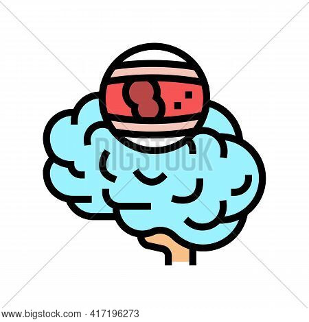 Stroke Brain Problem Color Icon Vector. Stroke Brain Problem Sign. Isolated Symbol Illustration