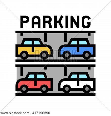 Multilevel Parking Color Icon Vector. Multilevel Parking Sign. Isolated Symbol Illustration