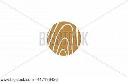 Wood Fiber Circle Logo Design Vector. Brown Texture Wood Illustration.