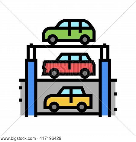 Lift Multilevel Equipment Parking Color Icon Vector. Lift Multilevel Equipment Parking Sign. Isolate
