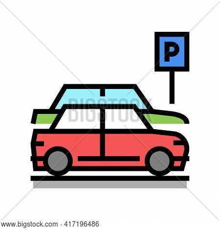 Street Parking Color Icon Vector. Street Parking Sign. Isolated Symbol Illustration