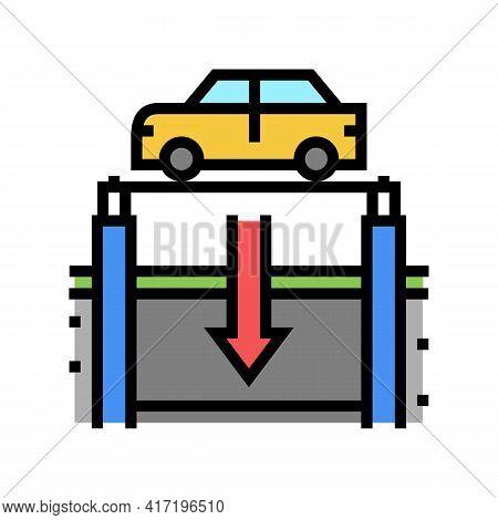 Elevator Lowering Car On Underground Parking Color Icon Vector. Elevator Lowering Car On Underground