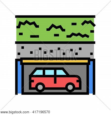 Underground Parking Color Icon Vector. Underground Parking Sign. Isolated Symbol Illustration