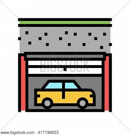 Underground Car Parking Color Icon Vector. Underground Car Parking Sign. Isolated Symbol Illustratio