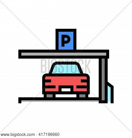 Car On Place Of Parking Color Icon Vector. Car On Place Of Parking Sign. Isolated Symbol Illustratio
