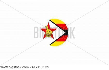 Zimbabwe Circle Flag Graphic Design Vector  Illustration.