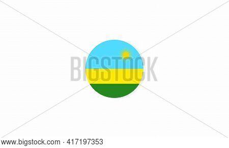 Rwanda Circle Flag Graphic Design Vector  Illustration.