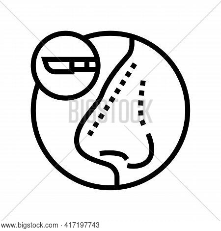 Rhinoplasty Treatment Line Icon Vector. Rhinoplasty Treatment Sign. Isolated Contour Symbol Black Il
