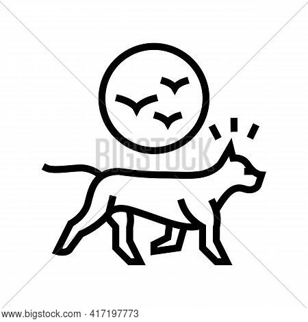 Dog Chasing Birds Line Icon Vector. Dog Chasing Birds Sign. Isolated Contour Symbol Black Illustrati